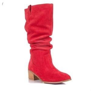 Twiggy London High Boots Red
